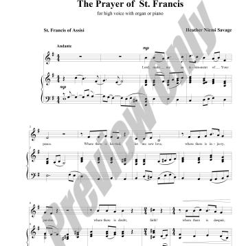 The Prayer of St. Francis Preview Score