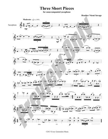 Three Short Pieces for Unaccompanied Saxophone Preview Score p.1